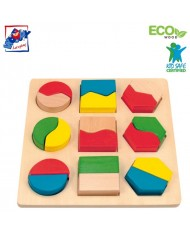 Woody 90005 Eco Wooden Educational color shape puzzle constructor (18pcs) for kids 2y+ (16x16cm)
