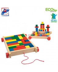 Woody 90007 Eco Wooden Educational cart with color blocks for contruction (34pcs) for kids 3y+ (20x15cm)
