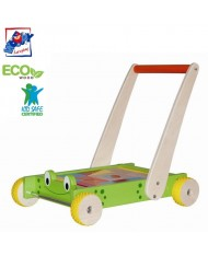 Woody 90903 Eco Wooden Educational walker-frog with constructor - colored building blocks (24pcs) for kids 1y+ (44x33x41cm)