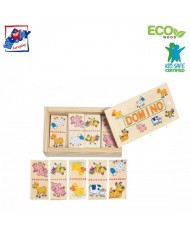 Woody 90021 Eco Wooden Educational Mini domino Animals (28pcs) for kids 3y+ (12x7cm)