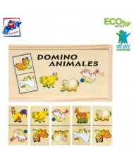 Woody 90092 Eco Wooden Educational Domino Farm animals (28pcs) for kids 3y+ (19x10cm)