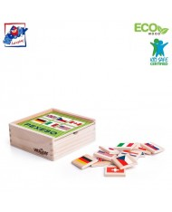 Woody 93058 Eco Wooden Educational Memory game - Flags (44pcs) for kids 3y+ (12x12cm)