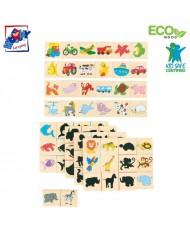 Woody 93025 Eco Wooden Educational and Fun Match the shadows game (40pcs) for kids 2y+ (16x16cm)