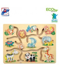 Woody 90313 Eco Wooden Educational Moving animal heads - maze (9pcs) for kids 3y+ (32x22.5x1.5cm)