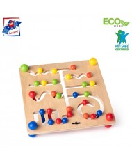 Woody 90079 Eco Wooden Educational many variation labyrinth for hand motoric skills for kids 3y+ (25x25cm)