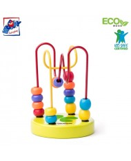 Woody 90064 Eco Wooden Educational mini labyrinth for hand motoric skills for kids 2y+ (9x12.5cm)