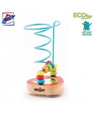 Woody 91843 Eco Wooden Educational mini labyrinth with sucker for hand motoric skills for kids 2y+ (10x17.5cm)
