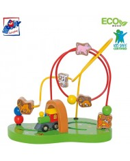 Woody 93032 Eco Wooden Educational mini labyrinth for hand motoric skills for kids 2y+ (26x24cm)