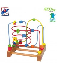 Woody 90309 Eco Wooden Educational large labyrinth for hand motoric skills for kids 2y+ (29x30cm)