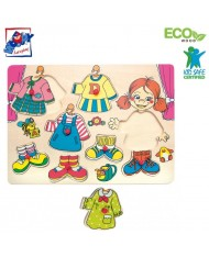 Woody 90319 Eco Wooden Educational Color Dress-up peg puzzle Carolina (8pcs) for kids 3y+ (30x23cm)