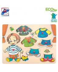 Woody 90320 Eco Wooden Educational Color Dress-up peg puzzle Sebastian (8pcs) for kids 3y+ (30x23cm)