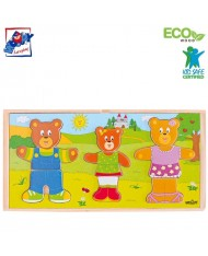 Woody 90810 Eco Wooden Educational Color Dress-up puzzle Bear family (54pcs) for kids 3y+ (28x14cm)