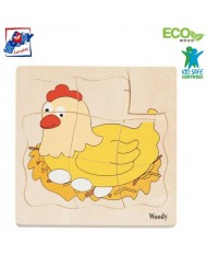 Woody 90073 Eco Wooden Educational Puzzle Stages of hen - 4 pictures (20pcs) for kids 3y+ (18x19cm)