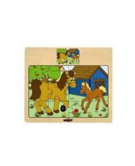 Woody 93010 Eco Wooden Educational Puzzle - Horses (12pcs) for kids 3y+ (17x13cm)