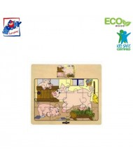 Woody 93010 Eco Wooden Educational Puzzle - Pigs (12pcs) for kids 3y+ (17x13cm)