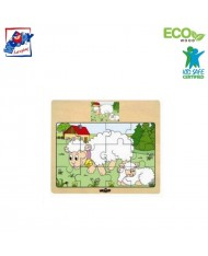 Woody 93010 Eco Wooden Educational Puzzle - Sheeps (12pcs) for kids 3y+ (17x13cm)