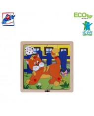 Woody 93017 Eco Wooden Educational Puzzle - Cat (4pcs) for kids 1y+ (20x20cm)