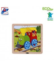 Woody 93017 Eco Wooden Educational Puzzle - Engine (4pcs) for kids 1y+ (20x20cm)