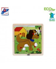 Woody 93017 Eco Wooden Educational Puzzle - Dog (4pcs) for kids 1y+ (20x20cm)