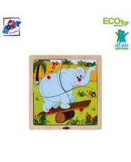 Woody 93017 Eco Wooden Educational Puzzle - Elephant (4pcs) for kids 1y+ (20x20cm)