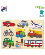 Woody 91906 Eco Wooden Educational Peg puzzle - Vehicles (9pcs) for kids 2y+ (30x21cm)