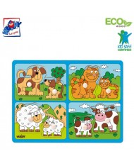 Woody 91913 Eco Wooden Educational Puzzle - pets with their young (8pcs) for kids 2y+ (29.5x22cm)