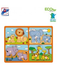 Woody 91914 Eco Wooden Educational Puzzle - exotic animals with their young (8pcs) for kids 2y+ (29.5x22cm)