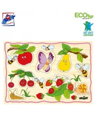 Woody 90252 Eco Wooden Educational Puzzle set - Fruits (12pcs) for kids 2y+ (30x21cm)