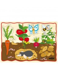 Woody 90252 Eco Wooden Educational Puzzle set - Vegetables (12pcs) for kids 2y+ (30x21cm)