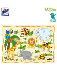 Woody 90252 Eco Wooden Educational Puzzle set - Exotic animals (12pcs) for kids 2y+ (30x21cm)