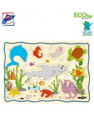 Woody 90252 Eco Wooden Educational Puzzle set - Sea life (12pcs) for kids 2y+ (30x21cm)