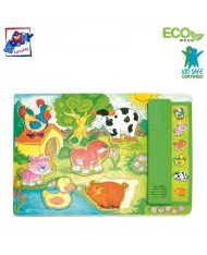 Woody 90323 Eco Wooden Educational Puzzle - farm animals with sounds (6pcs) for kids 3y+ (30x21cm)