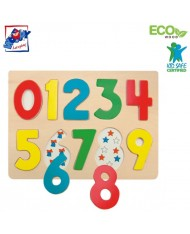 Woody 90325 Eco Wooden Educational color Puzzle - numbers (10pcs) for kids 3y+ (30x21cm)