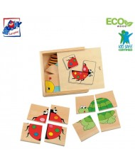 Woody 90328 Eco Wooden Educational mini Puzzle - bugs / animals in Eco Wooden box (16pcs) for kids 2y+ (11x11cm)
