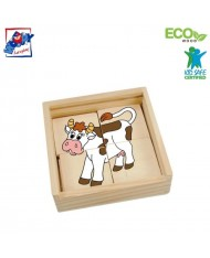 Woody 93003 Eco Wooden Educational mini Puzzle - Happy engine in Eco Wooden box (16pcs) for kids 2y+ (11x11cm)