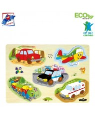 Woody 90331 Eco Wooden Educational Puzzle - cars with sounds (5pcs) for kids 3y+ (30x23cm)