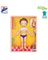 Woody 90332 Eco Wooden Educational Puzzle - Human body (EN version) (13pcs) for kids 3y+ (22.5x30x0.8cm)