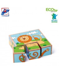Woody 93056 Eco Wooden Educational Picture cubes puzzle (6 pictures) - Exotic animals (9pcs) for kids 3y+ (13.5x13.5cm)