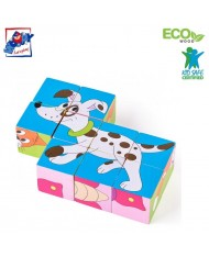 Woody 91138 Eco Wooden Educational Picture cubes puzzle (6 pictures) - Animalts and Insects (9pcs) for kids 3y+ (12x12cm)