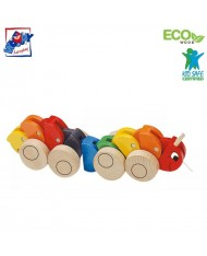 Woody 90135 Eco Wooden Educational Color Pull along centipede for kids 2y+ (30x5.5cm)