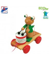 Woody 90196 Eco Wooden Educational Pull along frog with drum for kids 3y+ (19x21cm)