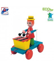Woody 90198 Eco Wooden Educational Pull along clown with xylophone for kids 3y+ (19x21cm)