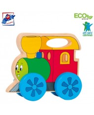 Woody 93036 Eco Wooden Educational Pull along Happy Engine with a handle for kids 2y+ (17x14cm)