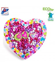 Woody 90213 Eco Wooden Didactic beads for girls - Heart for kids 3y+ (18x19x1.9cm)