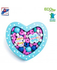 Woody 90215 Eco Wooden Didactic beads for girls - Small turquoise heart for kids 3y+ (18x15x2.8cm)