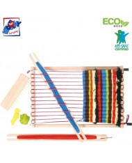 Woody 90706 Eco Wooden Educational hand motoric skills - Weaving loom (10pcs) for kids 3y+ (26x17cm)