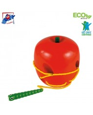 Woody 90471 Eco Wooden Educational hand motoric skills - Lacing apple and worm for kids 3y+ (11x17cm)