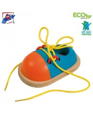 Woody 90625 Eco Wooden Educational hand motoric skills - Lacing shoe for kids 3y+ (11x17cm)