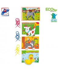 Woody 90920 Eco Wooden Educational hand motoric skills - Lacing animals in a box (20pcs) for kids 3y+ (19x13.5cm)