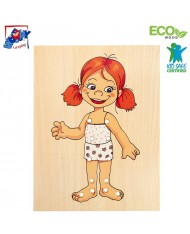 Woody 90017 Eco Wooden Educational hand motoric skills - Lacing Dress-up puzzle Baby Girl (13pcs) for kids 3y+ (18x22cm)